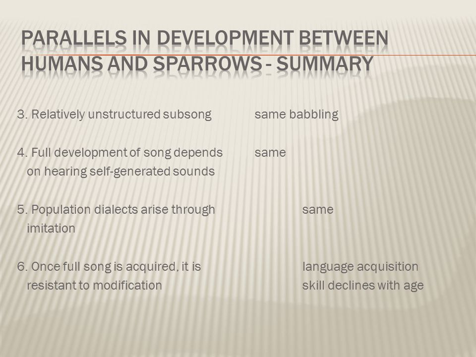 3. Relatively unstructured subsong same babbling 4. Full development of song depends same on hearing self-generated sounds 5. Population dialects aris