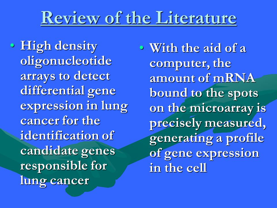 Review of Literature Continued Breath is beneficial in the testing for bronchogenic carcinomaBreath is beneficial in the testing for bronchogenic carcinoma Like the human nose, the electronic nose responds in concert to a given odor to generate a pattern, or smellprint, which is analyzed, compared with stored patterns, and recognized.Like the human nose, the electronic nose responds in concert to a given odor to generate a pattern, or smellprint, which is analyzed, compared with stored patterns, and recognized.