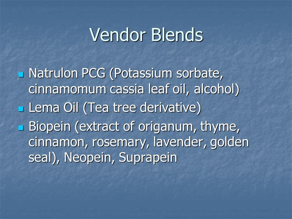 Vendor Blends Natrulon PCG (Potassium sorbate, cinnamomum cassia leaf oil, alcohol) Natrulon PCG (Potassium sorbate, cinnamomum cassia leaf oil, alcohol) Lema Oil (Tea tree derivative) Lema Oil (Tea tree derivative) Biopein (extract of origanum, thyme, cinnamon, rosemary, lavender, golden seal), Neopein, Suprapein Biopein (extract of origanum, thyme, cinnamon, rosemary, lavender, golden seal), Neopein, Suprapein