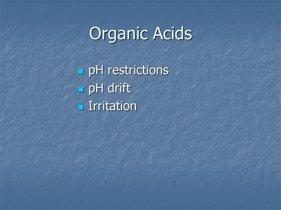 Organic Acids pH restrictions pH restrictions pH drift pH drift Irritation Irritation
