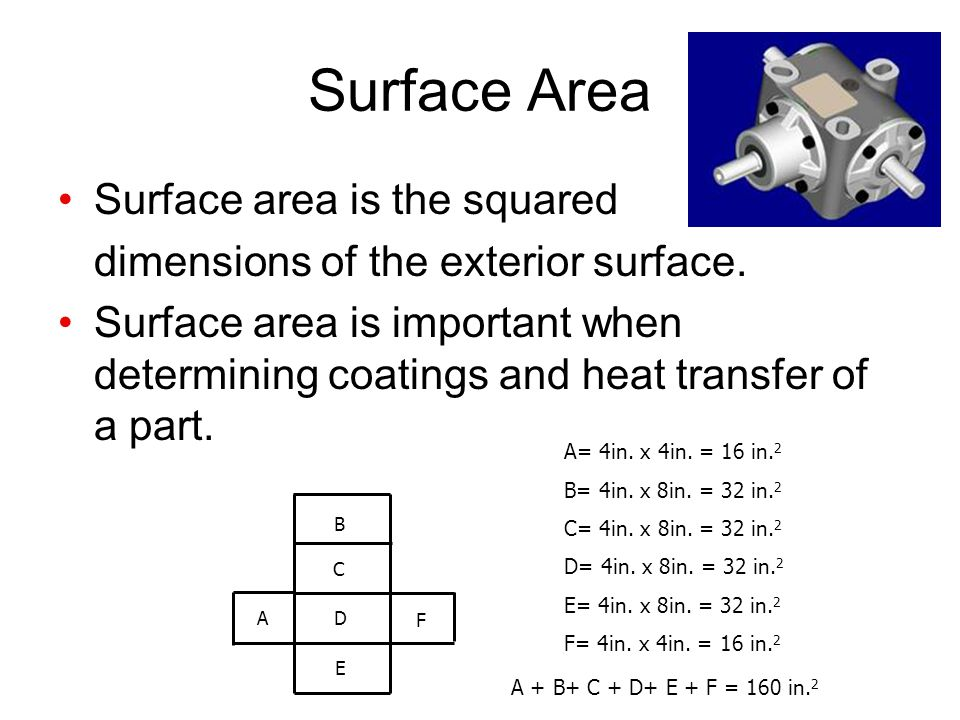 Surface Area Surface area is the squared dimensions of the exterior surface.