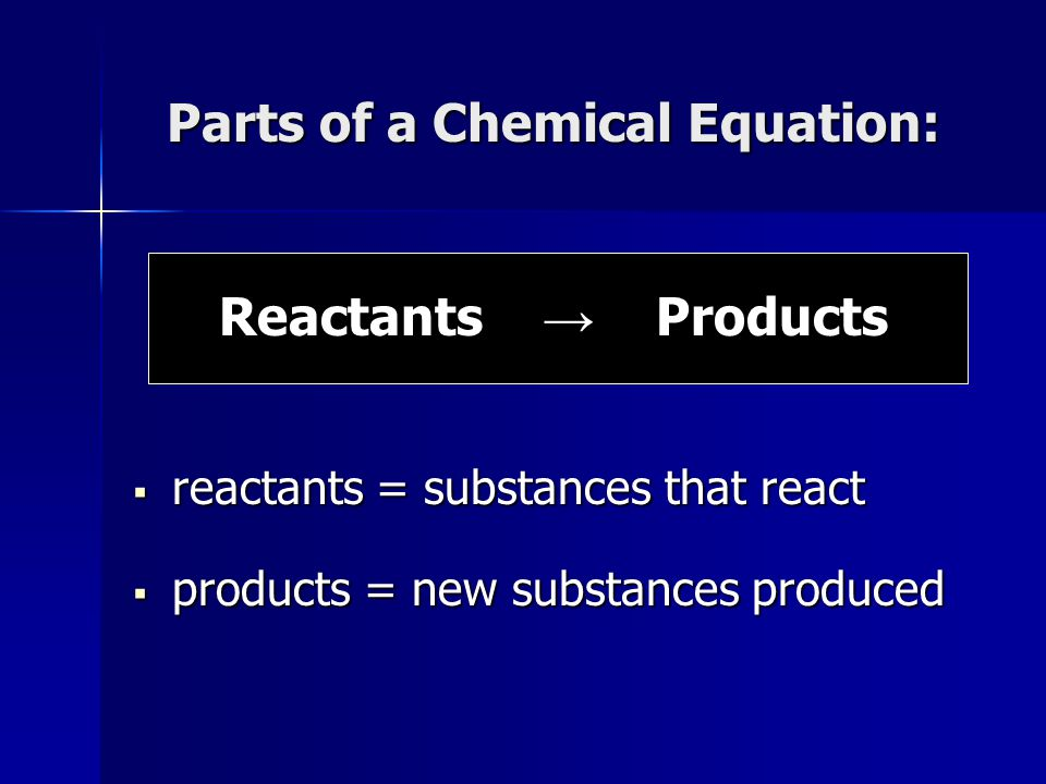 Parts of a Chemical Equation: Reactants → Products  reactants = substances that react  products = new substances produced