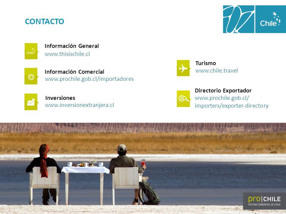 CONTACTO Información General www.thisischile.cl Información Comercial www.prochile.gob.cl/importadores Inversiones www.inversionextranjera.cl Turismo www.chile.travel Directorio Exportador www.prochile.gob.cl/ importers/exporter-directory