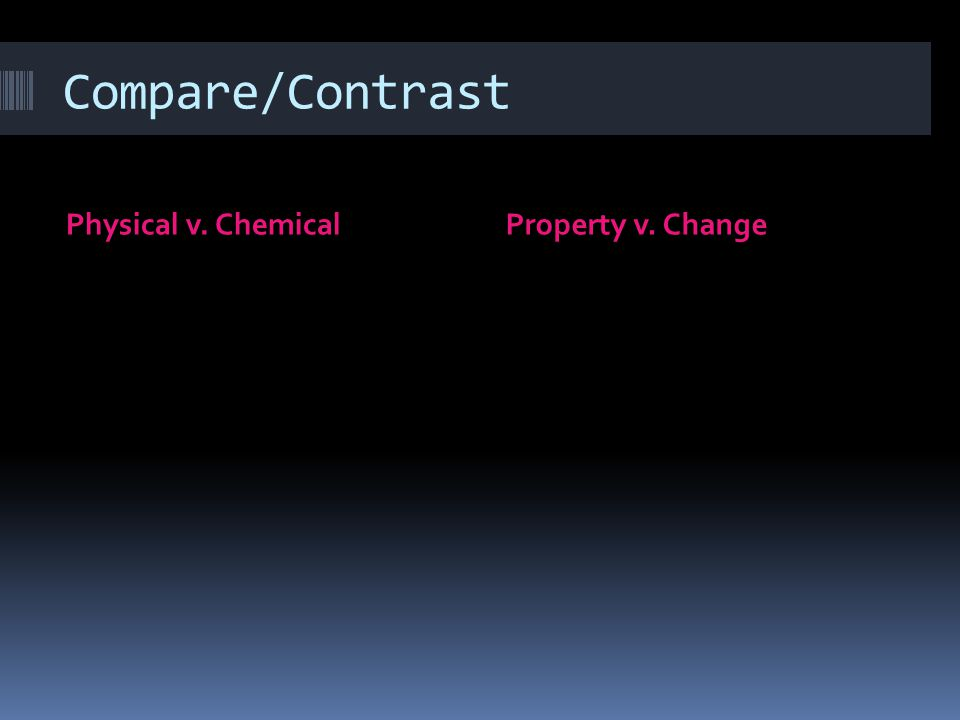 Compare/Contrast Physical v. ChemicalProperty v. Change