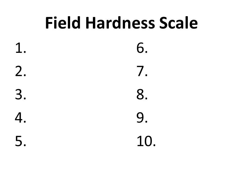 Field Hardness Scale 1.6. 2.7. 3.8. 4.9. 5.10.