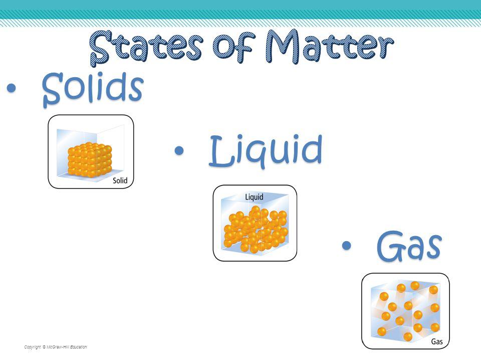 Copyright © McGraw-Hill Education Gas Gas Solids Solids Liquid Liquid