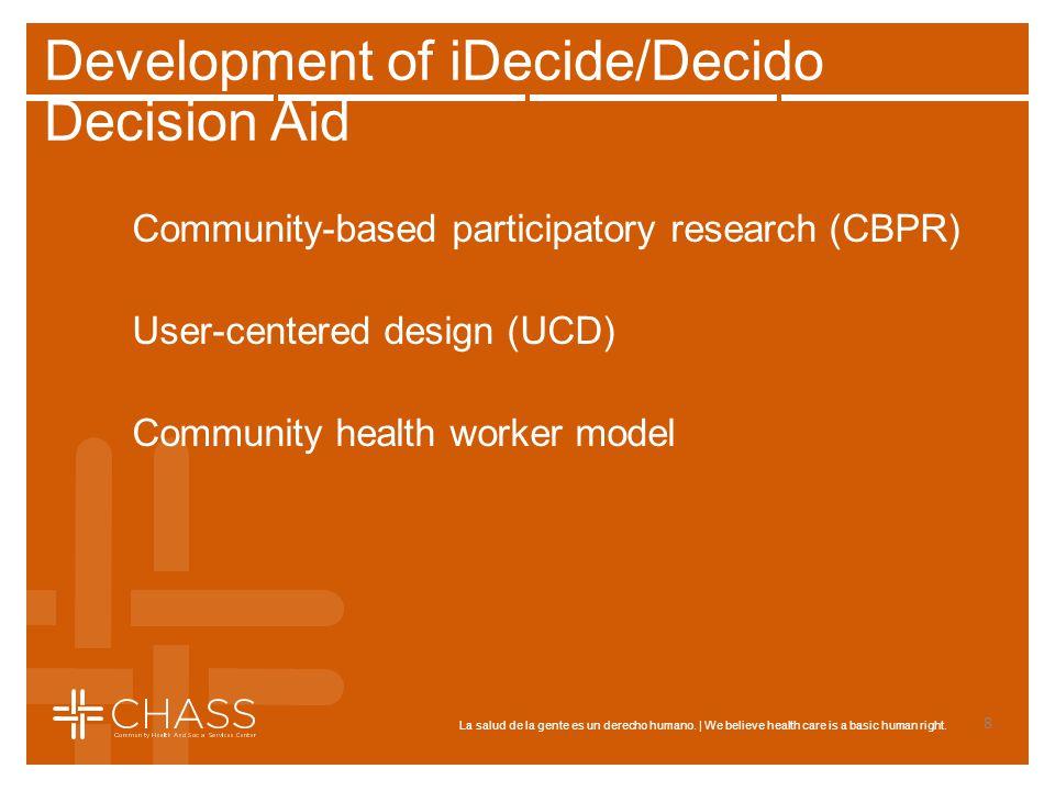 La salud de la gente es un derecho humano. | We believe health care is a basic human right. Development of iDecide/Decido Decision Aid Community-based