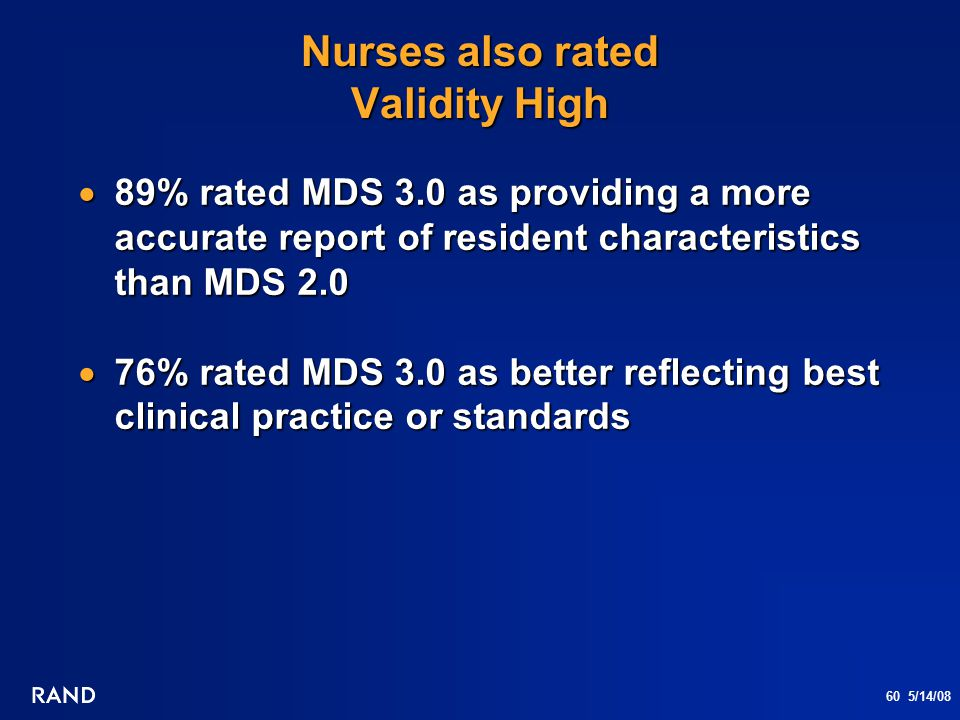 60 5/14/08 Nurses also rated Validity High  89% rated MDS 3.0 as providing a more accurate report of resident characteristics than MDS 2.0  76% rate