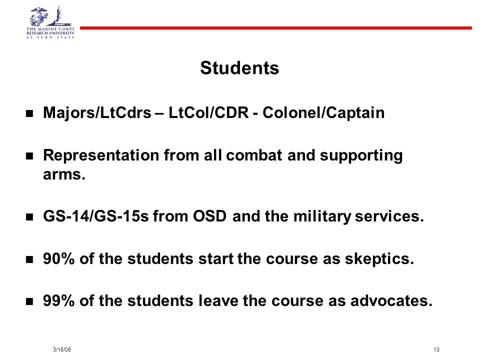 3/15/0513 Students Majors/LtCdrs – LtCol/CDR - Colonel/Captain Representation from all combat and supporting arms. GS-14/GS-15s from OSD and the milit