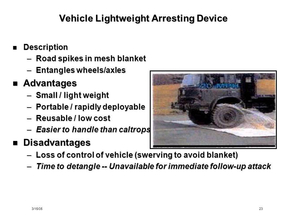 3/15/0523 Vehicle Lightweight Arresting Device Description Description –Road spikes in mesh blanket –Entangles wheels/axles Advantages Advantages –Sma