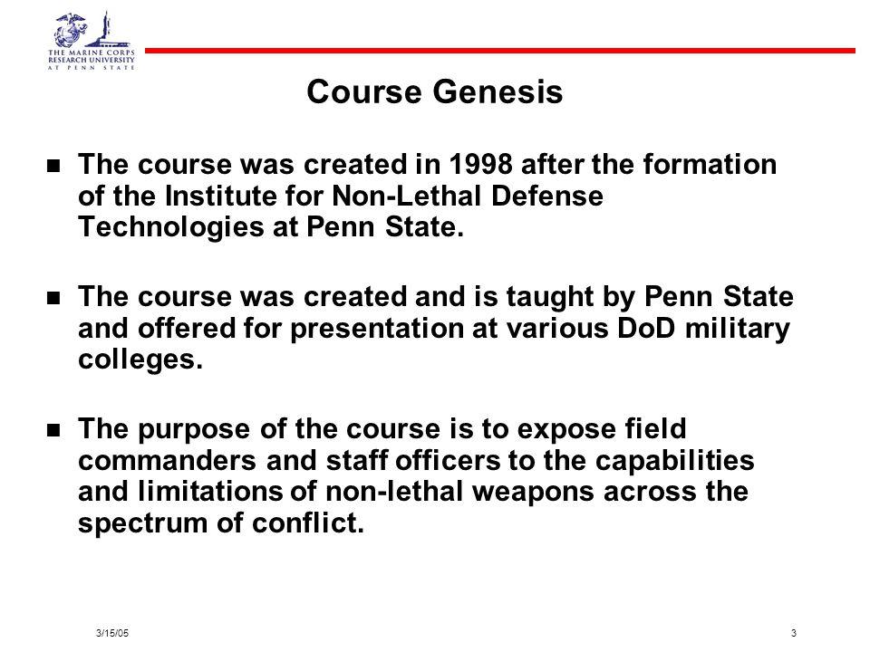 3/15/0514 Student Non-Lethal Scenarios Course final exam.