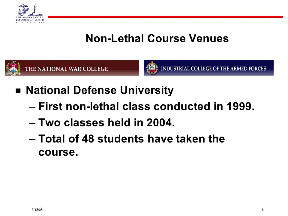 3/15/058 Non-Lethal Course Venues National Defense University – –First non-lethal class conducted in 1999. – –Two classes held in 2004. – –Total of 48