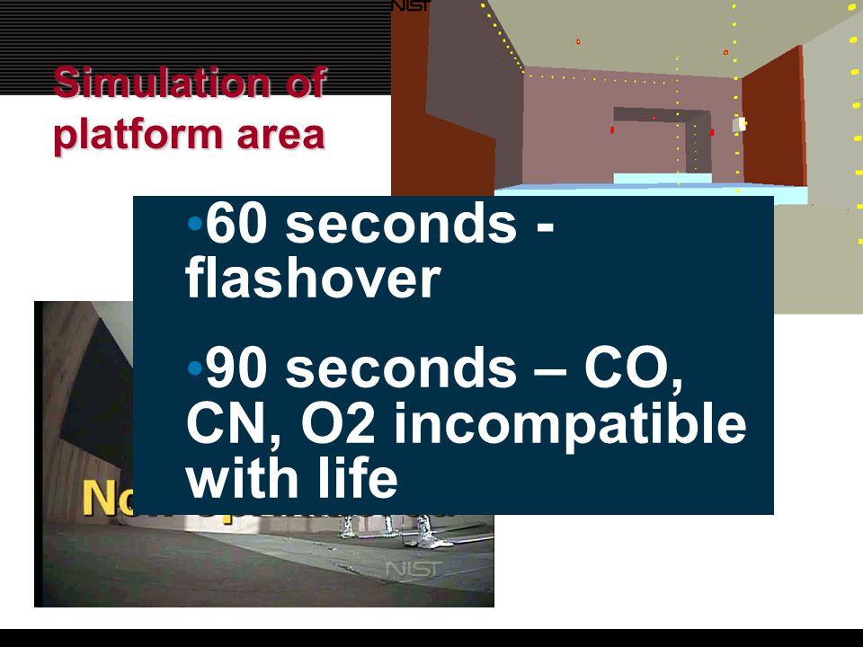 Simulation of platform area 60 seconds - flashover 90 seconds – CO, CN, O2 incompatible with life