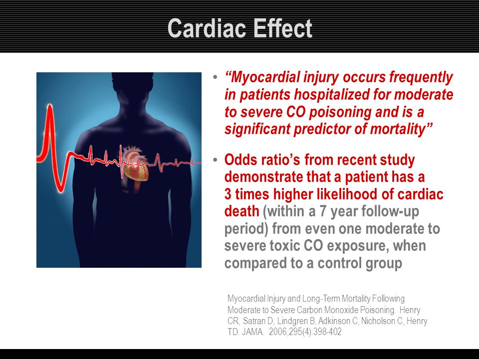 """Cardiac Effect """"Myocardial injury occurs frequently in patients hospitalized for moderate to severe CO poisoning and is a significant predictor of mor"""