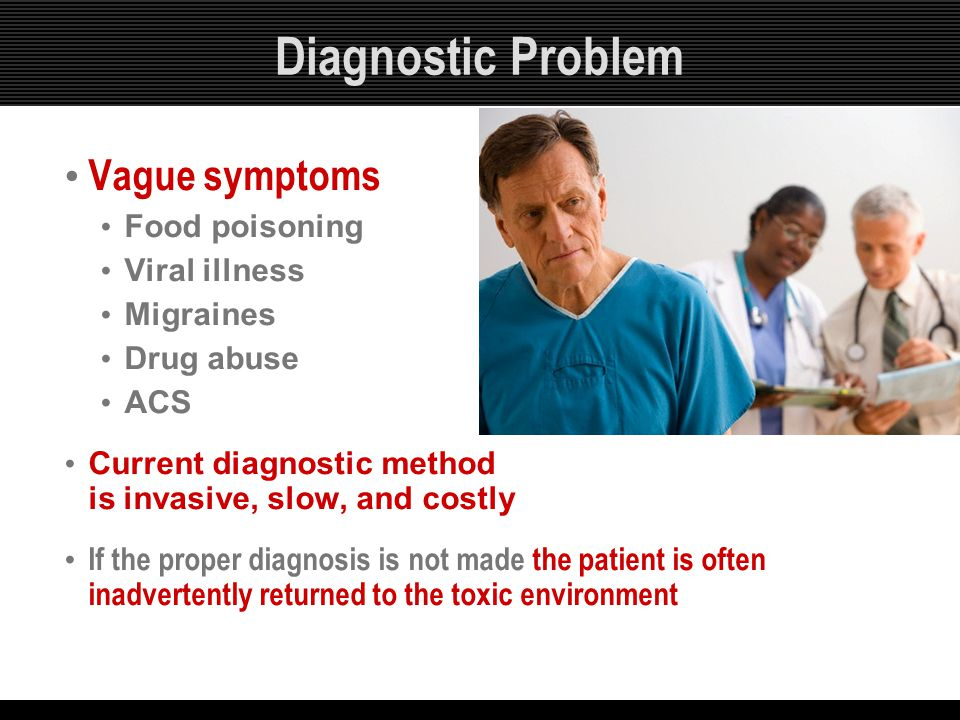 Diagnostic Problem Vague symptoms Food poisoning Viral illness Migraines Drug abuse ACS Current diagnostic method is invasive, slow, and costly If the