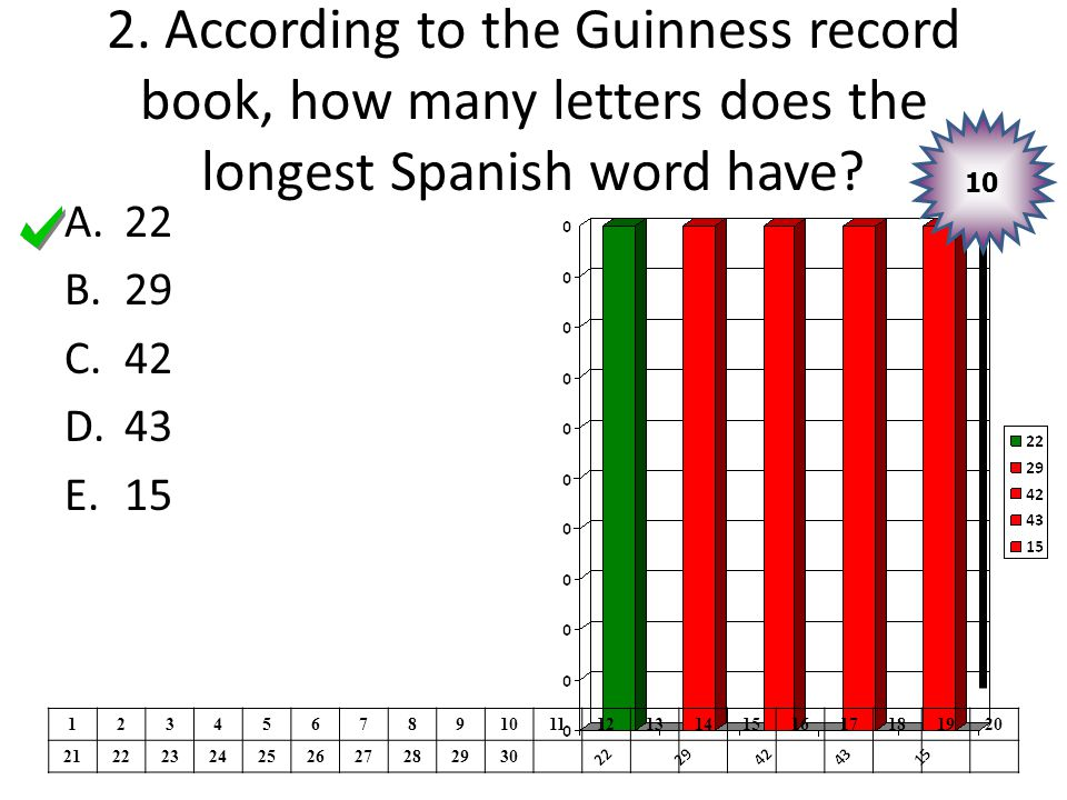 2. According to the Guinness record book, how many letters does the longest Spanish word have.