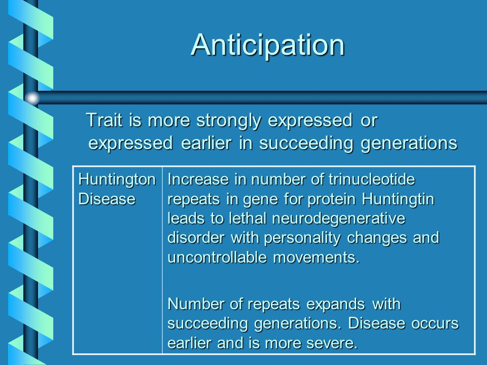 Anticipation Trait is more strongly expressed or expressed earlier in succeeding generations Trait is more strongly expressed or expressed earlier in succeeding generations Huntington Disease Increase in number of trinucleotide repeats in gene for protein Huntingtin leads to lethal neurodegenerative disorder with personality changes and uncontrollable movements.