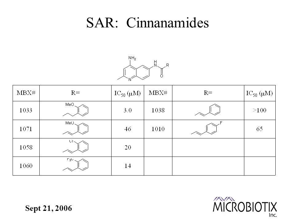 Sept 21, 2006 SAR: Cinnanamides