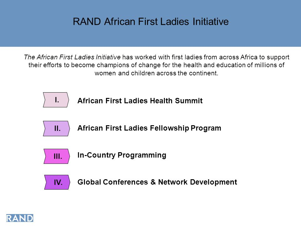 RAND African First Ladies Initiative African First Ladies Health Summit African First Ladies Fellowship Program In-Country Programming Global Conferences & Network Development I.