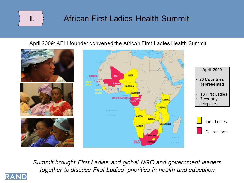 African First Ladies Health Summit I. April 2009: AFLI founder convened the African First Ladies Health Summit April 2009 20 Countries Represented 13