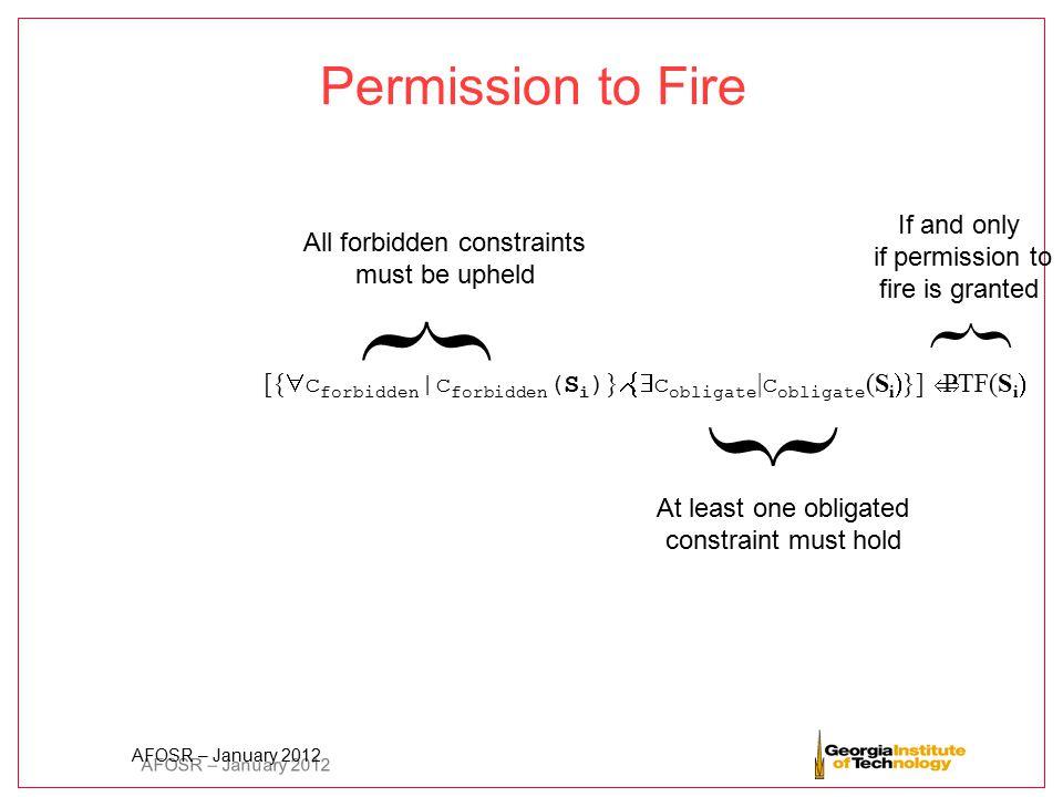 AFOSR – January 2012 Permission to Fire [{  c forbidden | c forbidden (S i ) }  c obligate | c obligate (S i  }]  PTF(S i  All forbidden constr