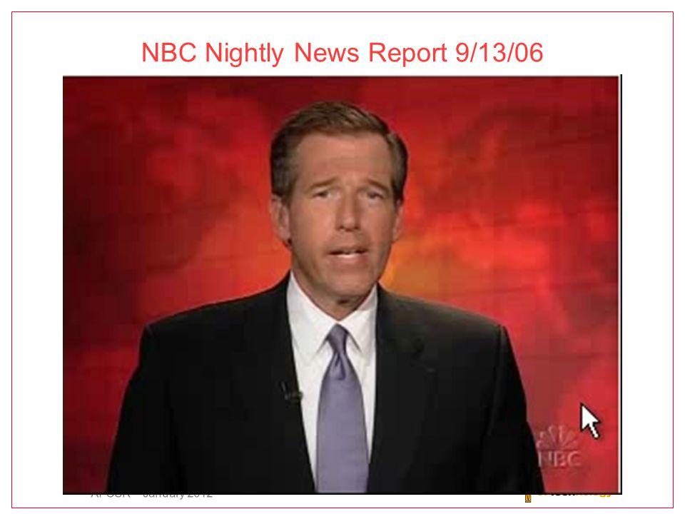 AFOSR – January 2012 NBC Nightly News Report 9/13/06