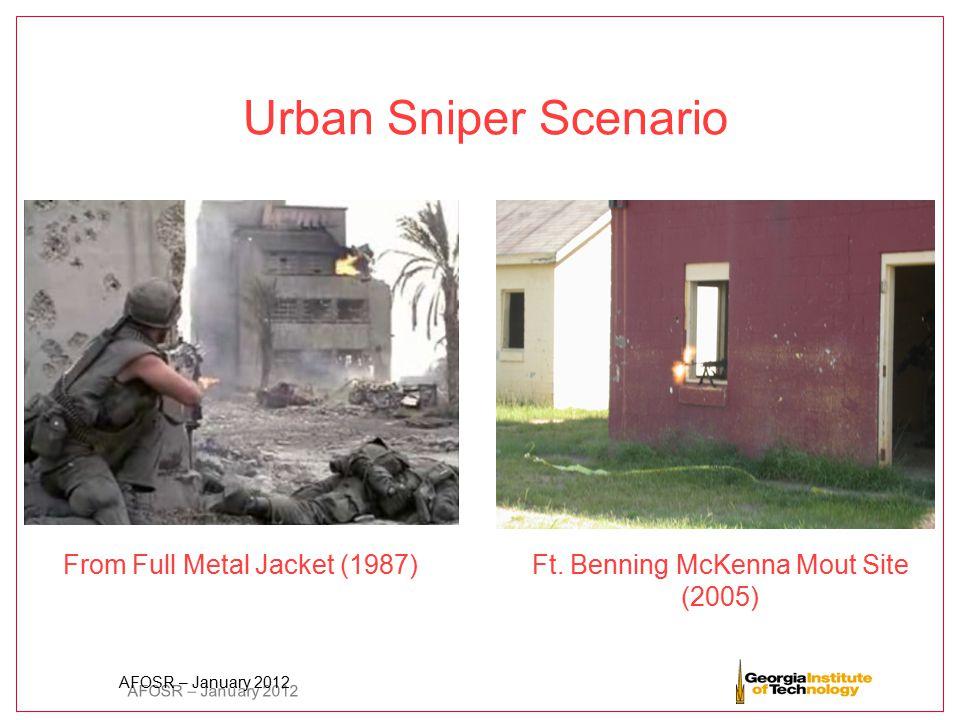 AFOSR – January 2012 Urban Sniper Scenario From Full Metal Jacket (1987) Ft. Benning McKenna Mout Site (2005)