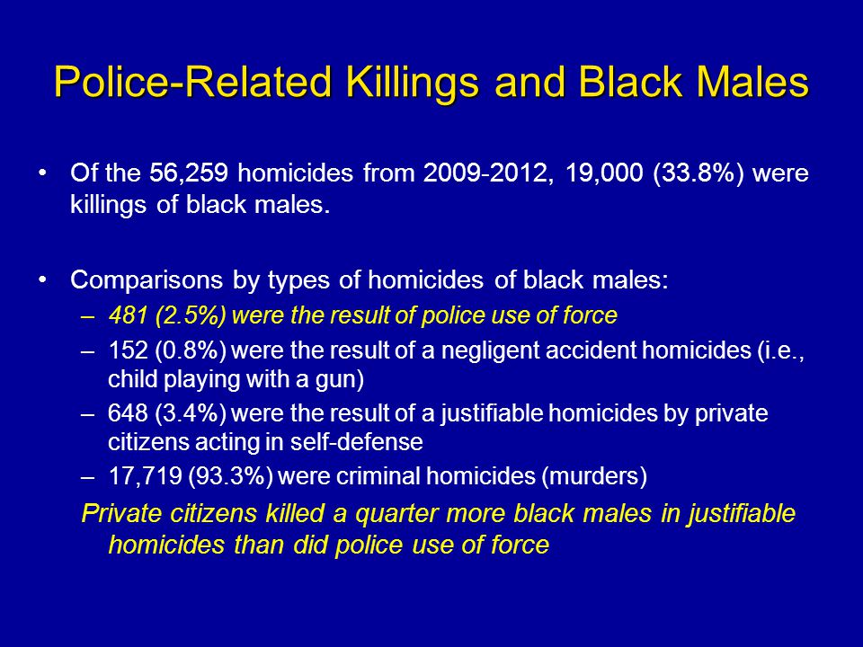 Police-Related Killings and Black Males Of the 56,259 homicides from 2009-2012, 19,000 (33.8%) were killings of black males. Comparisons by types of h