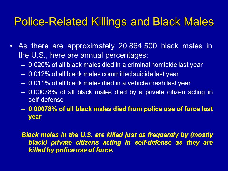 Police-Related Killings and Black Males As there are approximately 20,864,500 black males in the U.S., here are annual percentages: –0.020% of all bla