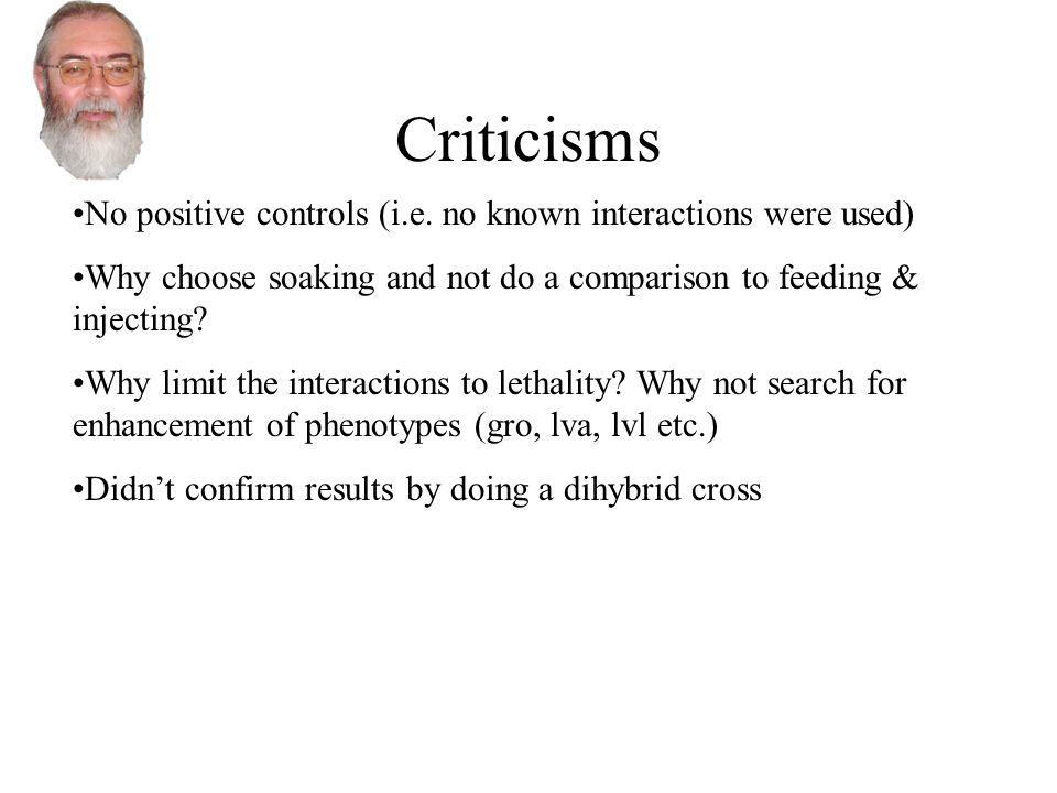 Criticisms No positive controls (i.e.