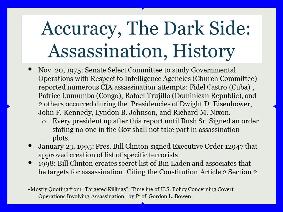 Accuracy, The Dark Side: Assassination, History Nov. 20, 1975: Senate Select Committee to study Governmental Operations with Respect to Intelligence A
