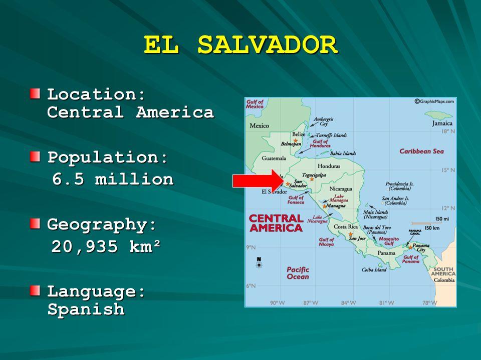 EL SALVADOR Location: Central America Population: 6.5 million 6.5 million Geography: 20,935 km² 20,935 km² Language: Spanish