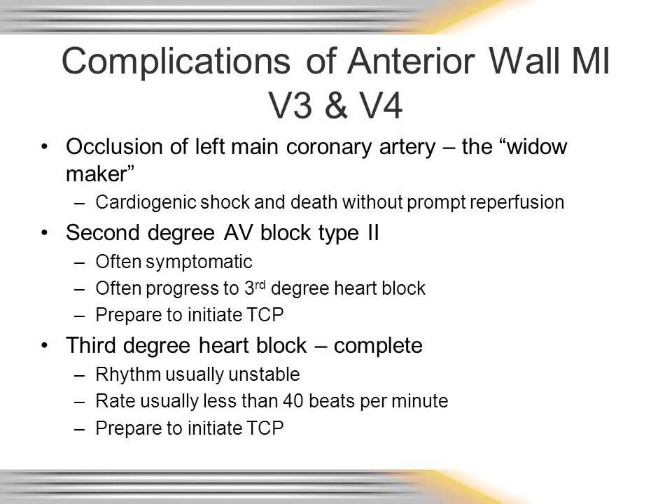 """Complications of Anterior Wall MI V3 & V4 Occlusion of left main coronary artery – the """"widow maker"""" –Cardiogenic shock and death without prompt reper"""