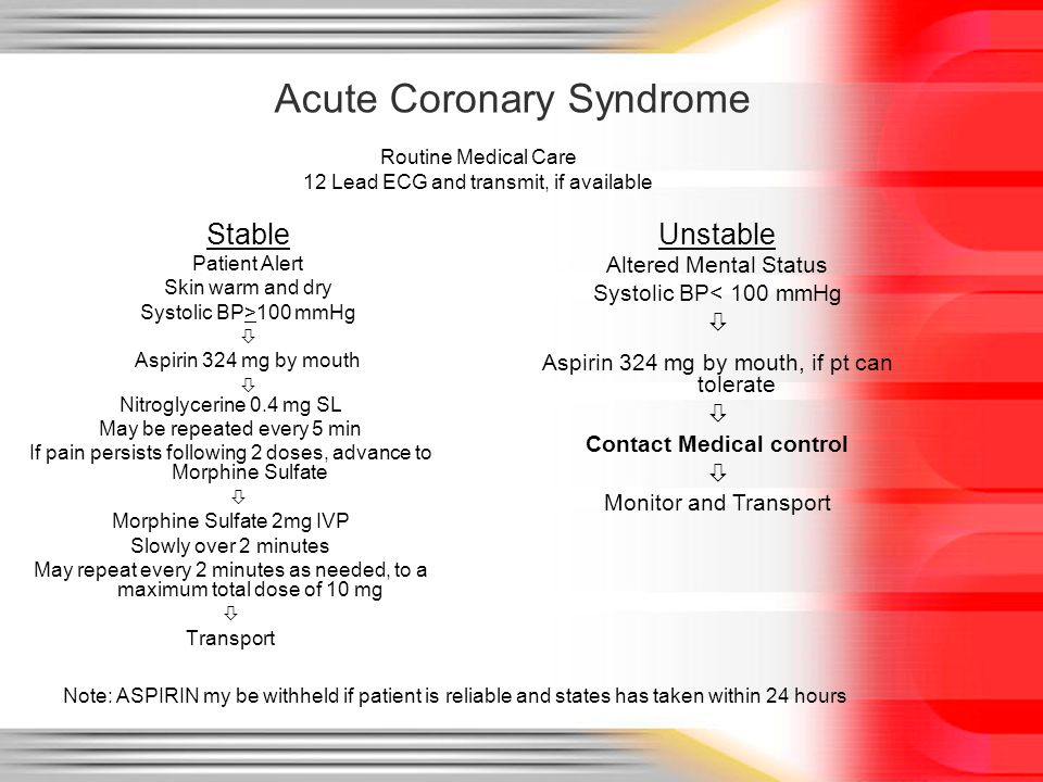 Acute Coronary Syndrome Stable Patient Alert Skin warm and dry Systolic BP>100 mmHg  Aspirin 324 mg by mouth  Nitroglycerine 0.4 mg SL May be repeat