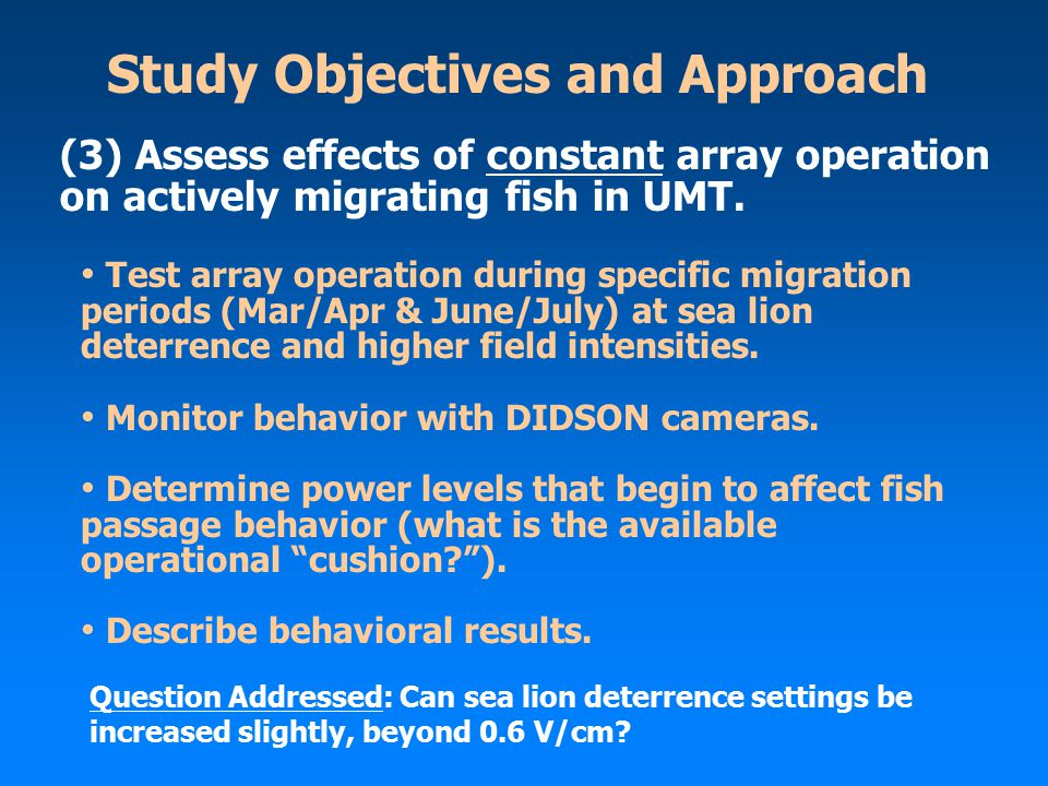 Study Objectives and Approach Test array operation during specific migration periods (Mar/Apr & June/July) at sea lion deterrence and higher field intensities.