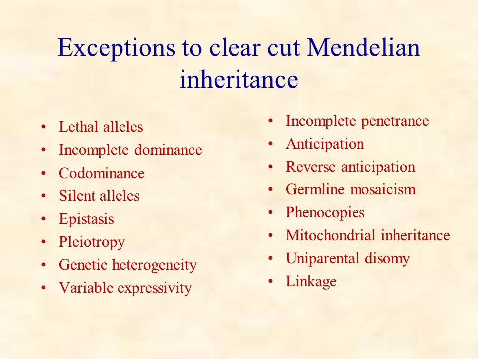 Exceptions to clear cut Mendelian inheritance Lethal alleles Incomplete dominance Codominance Silent alleles Epistasis Pleiotropy Genetic heterogeneity Variable expressivity Incomplete penetrance Anticipation Reverse anticipation Germline mosaicism Phenocopies Mitochondrial inheritance Uniparental disomy Linkage