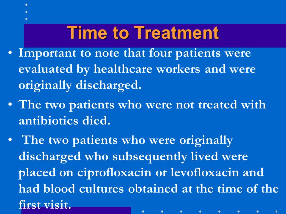 Time to Treatment Important to note that four patients were evaluated by healthcare workers and were originally discharged. The two patients who were