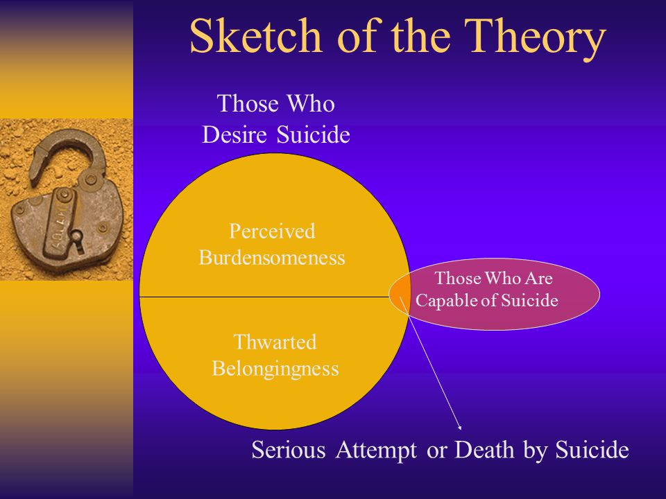 Serious Attempt or Death by Suicide Those Who Desire Suicide Those Who Are Capable of Suicide Perceived Burdensomeness Thwarted Belongingness Sketch of the Theory
