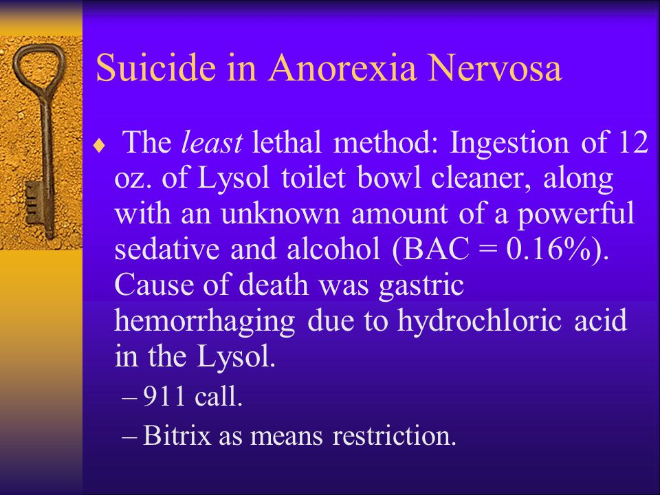 Suicide in Anorexia Nervosa  The least lethal method: Ingestion of 12 oz.