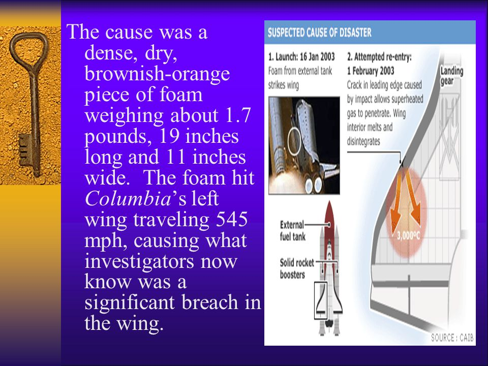 The cause was a dense, dry, brownish-orange piece of foam weighing about 1.7 pounds, 19 inches long and 11 inches wide.