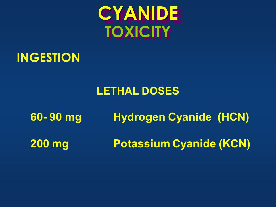 CYANIDECYANIDE TOXICITY LETHAL DOSES 60- 90 mgHydrogen Cyanide (HCN) 200 mgPotassium Cyanide (KCN) INGESTION
