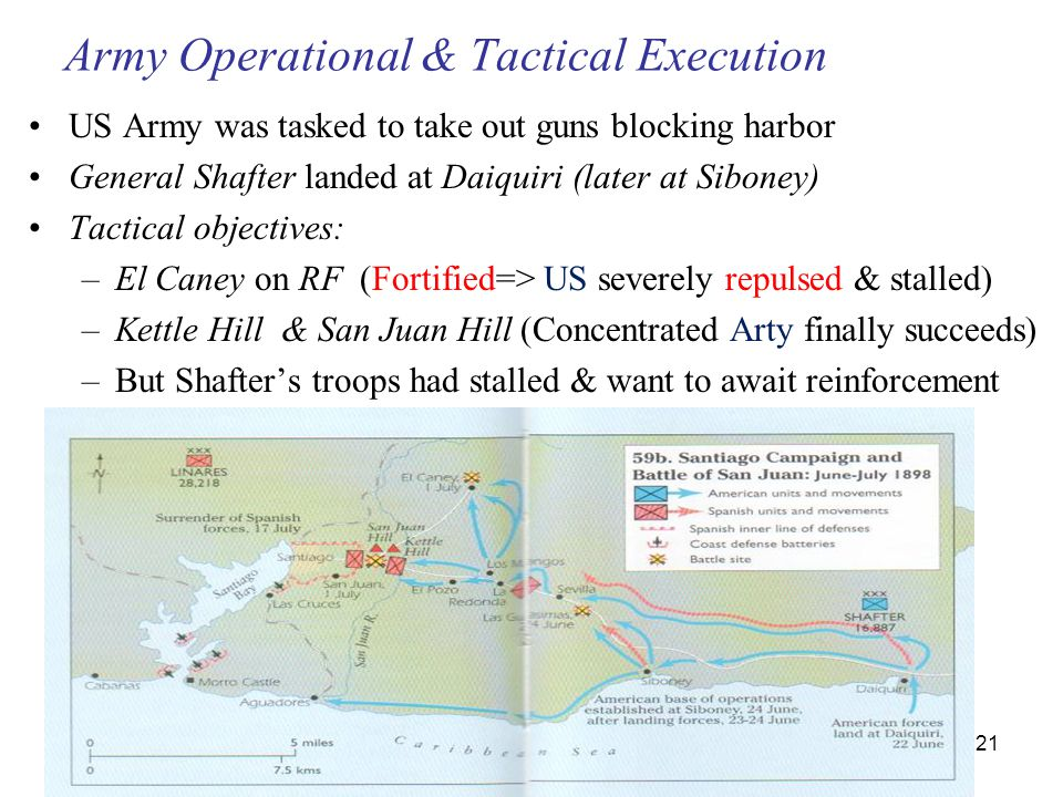 21 Army Operational & Tactical Execution US Army was tasked to take out guns blocking harbor General Shafter landed at Daiquiri (later at Siboney) Tactical objectives: –El Caney on RF (Fortified=> US severely repulsed & stalled) –Kettle Hill & San Juan Hill (Concentrated Arty finally succeeds) –But Shafter's troops had stalled & want to await reinforcement