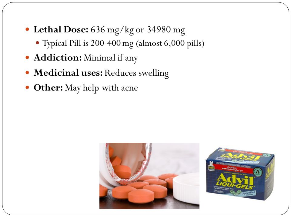 Lethal Dose: 636 mg/kg or 34980 mg Typical Pill is 200-400 mg (almost 6,000 pills) Addiction: Minimal if any Medicinal uses: Reduces swelling Other: M