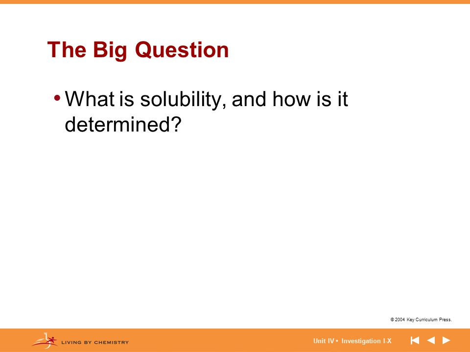 © 2004 Key Curriculum Press. Unit IV Investigation I-X The Big Question What is solubility, and how is it determined?