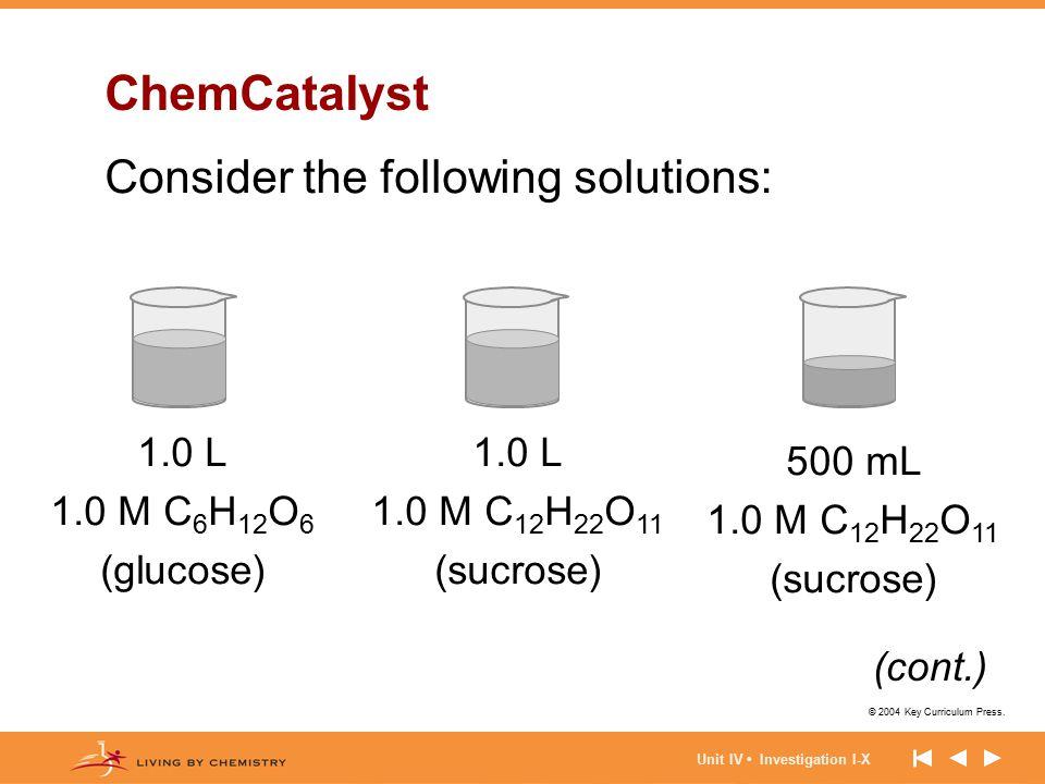 © 2004 Key Curriculum Press. Unit IV Investigation I-X ChemCatalyst Consider the following solutions: 1.0 L 1.0 M C 6 H 12 O 6 (glucose) 500 mL 1.0 M