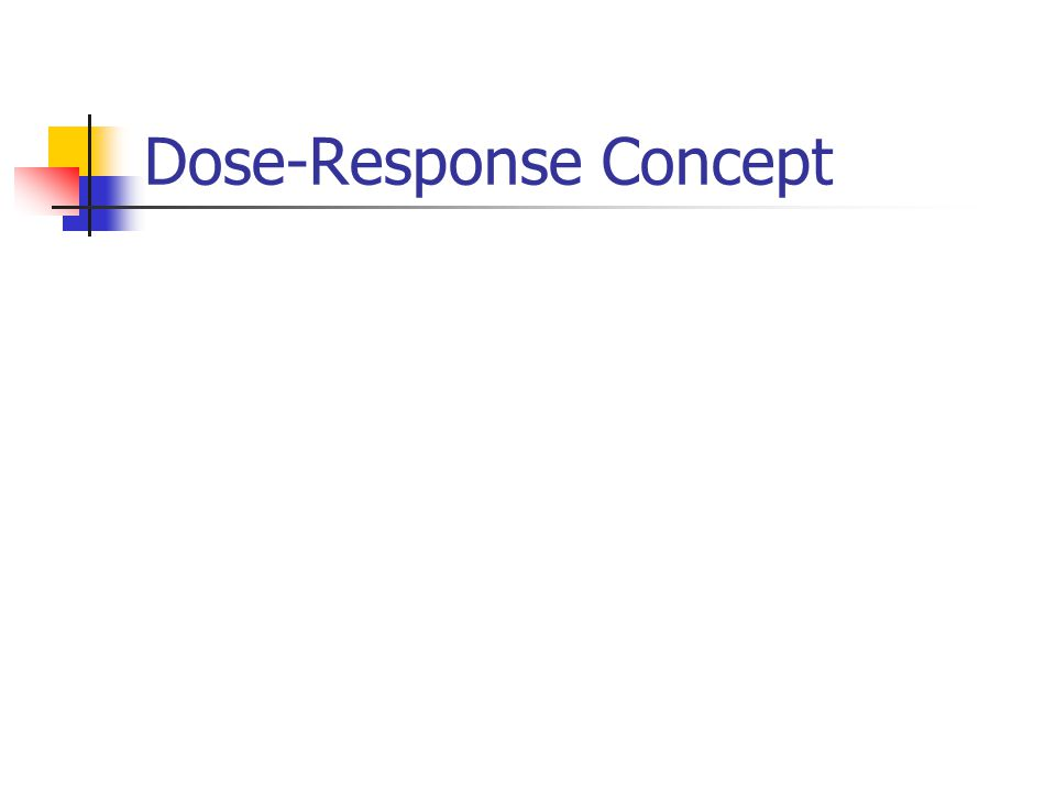 Assumptions in Deriving the Dose-Response Relationship The response is due to the chemical administered There is a molecular site(s) with which the chemical interacts to produce the response The response is a function of the [ ] of the compound at the site of action The [ ] of the compound at the site of action is related to the dose of the compound