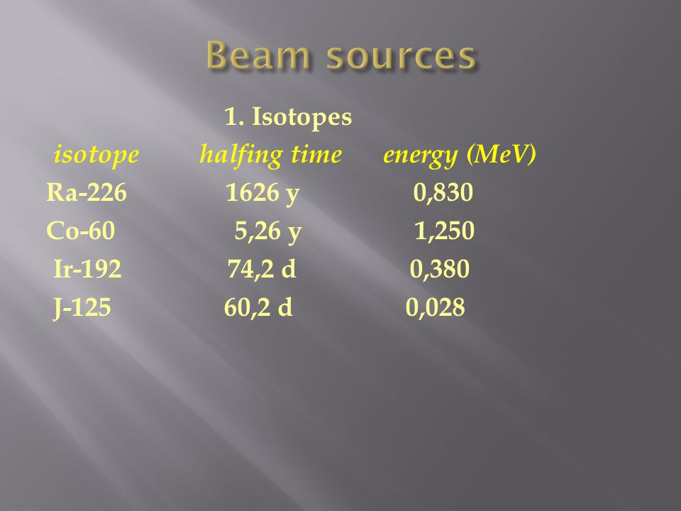 1. Isotopes isotope halfing time energy (MeV) Ra-226 1626 y 0,830 Co-60 5,26 y 1,250 Ir-192 74,2 d 0,380 J-125 60,2 d 0,028