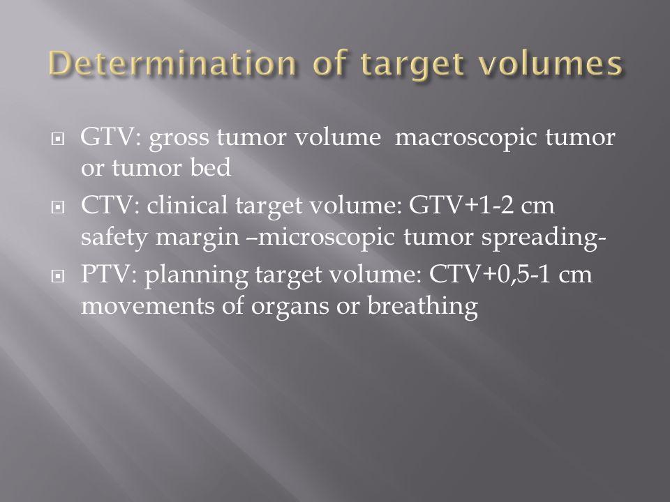  GTV: gross tumor volume macroscopic tumor or tumor bed  CTV: clinical target volume: GTV+1-2 cm safety margin –microscopic tumor spreading-  PTV: planning target volume: CTV+0,5-1 cm movements of organs or breathing