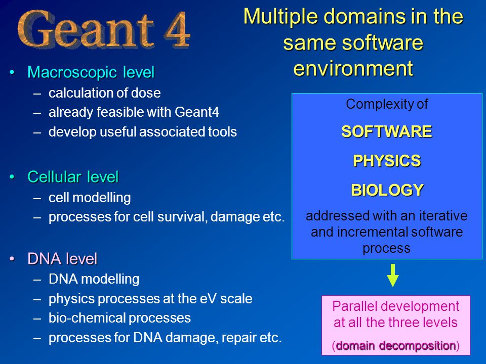 Multiple domains in the same software environment Macroscopic levelMacroscopic level –calculation of dose –already feasible with Geant4 –develop useful associated tools Cellular levelCellular level –cell modelling –processes for cell survival, damage etc.