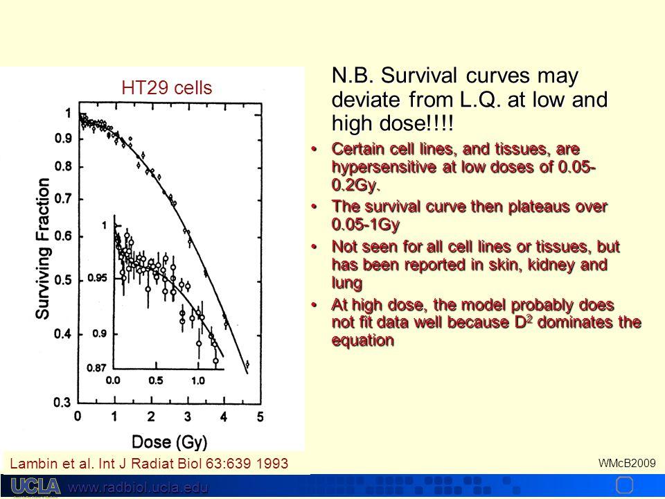 www.radbiol.ucla.edu WMcB2009 The Linear Quadratic Formulation Does not work well at high dose/fxDoes not work well at high dose/fx Assumes equal effe